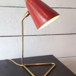 Lampe de Bureau de Robert Mathieu avec Abat Jour Laqué Rouge