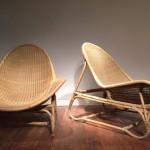 Paire de fauteuils en rotin et fibre végétale de Michel Buffet, 1954