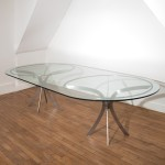 Very large oval glass table by Xavier-Féal