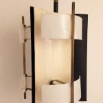 Floor lamp in black and white lacquered metal, perspex and brass
