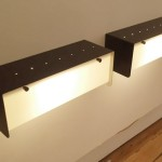 Set of 4 black lacquered wall lights with perspex by Jacques Biny