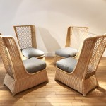 Set of 4 rattan slipper chairs by Etienne Henri Martin