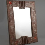 Rare large mirror by Gilbert Portanier