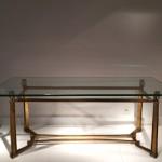 Table basse en fer forgé doré des années 1940