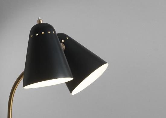 lampe double abat jour en m tal laqu noir de robert mathieu. Black Bedroom Furniture Sets. Home Design Ideas