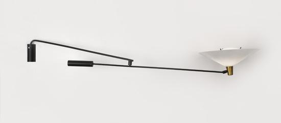 grande applique potence double bras noire avec abat jour. Black Bedroom Furniture Sets. Home Design Ideas