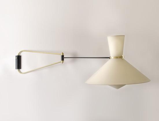 paire d 39 appliques double bras laqu es noir de robert mathieu. Black Bedroom Furniture Sets. Home Design Ideas