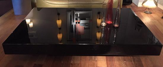 Grande table basse ann es 70 laqu e noir for Grande table basse de salon