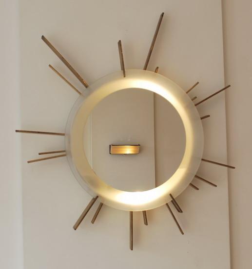 Miroir soleil eclairant travail italien for Miroir eclairant